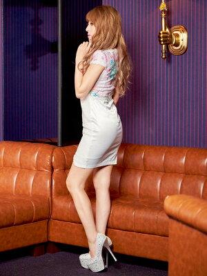 【送料無料】【あす楽】[盛りドレス][SMLサイズ]ビジュー付き谷間見えオーガンジーレースペプラムミニドレス[dazzyQueen]●[桜井莉菜][黄色ピンク青][花柄][レディースladiesdress大人女性][3サイズ展開]