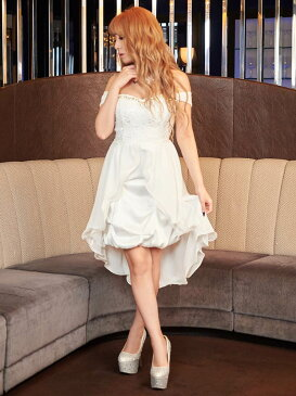 キャバ ドレス キャバドレス ワンピース S M L サイズ バルーンスカートオフショルシフォンインナーミニロングドレス 桜井莉菜 dazzystore デイジーストア あす楽 送料無料