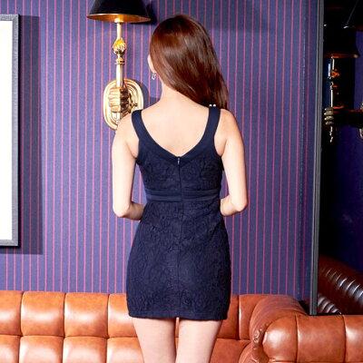 【あす楽】【盛りドレス】dazzyストアドレスキャバドレスナイトドレス大きいサイズ[S/M/Lサイズ]総レース谷間ホールカットタイトミニドレス[dazzyQueen][杉山佳那恵][白紺]パーティードレス[シンプル無地谷間見せ][レディースladiesdress大人女性][3サイズ展開]