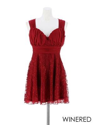 [予約:11/15発送]ドレスキャバドレスナイトドレス大きいサイズ[S/M/Lサイズ]バックシースルー花柄レースAラインミニドレス[dazzyQueen][ベージュ赤黒][透け魅せレース][レディースladiesdress大人女性]dazzyストア