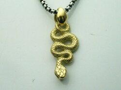 ゴールドアクセサリー18金製蛇のペンダントトップ(at063)へびスネークK18イエローゴールド動物ペンダントメンズレディース送料無料!