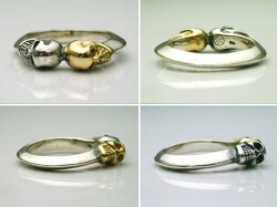 K18&925コンビツイン10スカルリング18金イエローゴールド&スターリングシルバーガイコツリング送料無料指輪メンズレディース