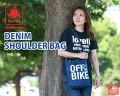 【送料無料】デニムショルダーバッグDENIMSHOULDERBAGラベルlovellアクセサリオシャレサイクリング自転車