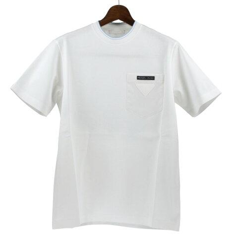 【24時間限定ポイント15倍】プラダ PRADA Tシャツ メンズ Mサイズ ホワイト UJN616 S 201 1VT8 F0009 BIANCO