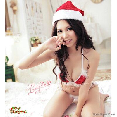 サンタガールブラセットセクシー下着クリスマス【あす楽対応】三角ブラセクシーブラランジェリークロッチレス【RCP】【メール便可】