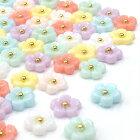 【メール便可】パステルフラワーパーツ5粒入/ジェルネイルアート用品デコUVレジンクラフトアクセサリーハンドメイドネイルパーツお花華プラパーツ5枚花小花真ん中のゴールドブリオンがアクセント♪♪