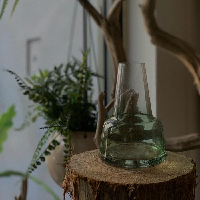 グリーンガラスボトルA 花器 花瓶 ガラスベース ベース 生花 インテリア オシャレ 個性的 プレゼント お誕生日プレゼント 引っ越し祝い 贈り物