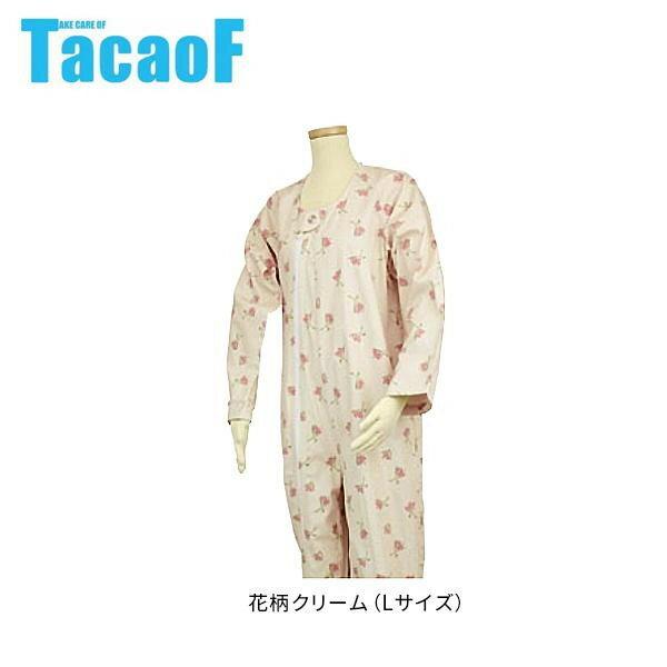 幸和製作所 テイコブ(TacaoF) エコノミー上下続き服 花柄クリーム UW01 Lサイズ
