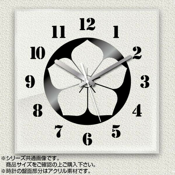 MYCLO(マイクロ) 壁掛け時計 アクリル素材(クリア) 四角 30cm 家紋 桔梗紋 com785