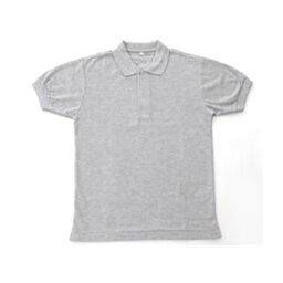 無地鹿の子ポロシャツ 杢 グレー M