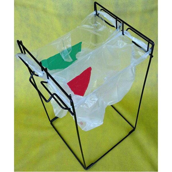 組立て式ゴミ袋スタンド  スチール製 取っ手付き 日本製 〔園芸 ガーデニング キャンプ アウトドア〕