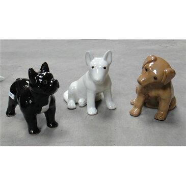 【3点×1セット】 陶製ガーデンオーナメント/園芸用品 【犬タイプ 長さ33cm】 イタリア製 ほのぼのわんこ 『ストローファーム』