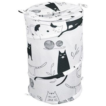 黒ネコ ランドリーバスケット/洗濯かご 【ラウンド型】 折りたたみ ポリエステル アルミ PP 〔洗面所 バスルーム〕