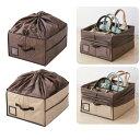 バッグ(鞄)収納ボックス 除湿&消臭マット/仕切り板2枚/フタ付き ブラウン