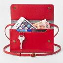 お財布にもなる「ショルダーミニバッグ・プラス・タンジェリンレッド」iP...