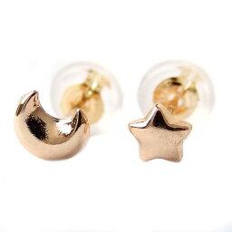 ピアス 地金 K18 イエローゴールド ムーン&スター スタッド シンプル 上品 シリコン製ダブルロックキャッチ