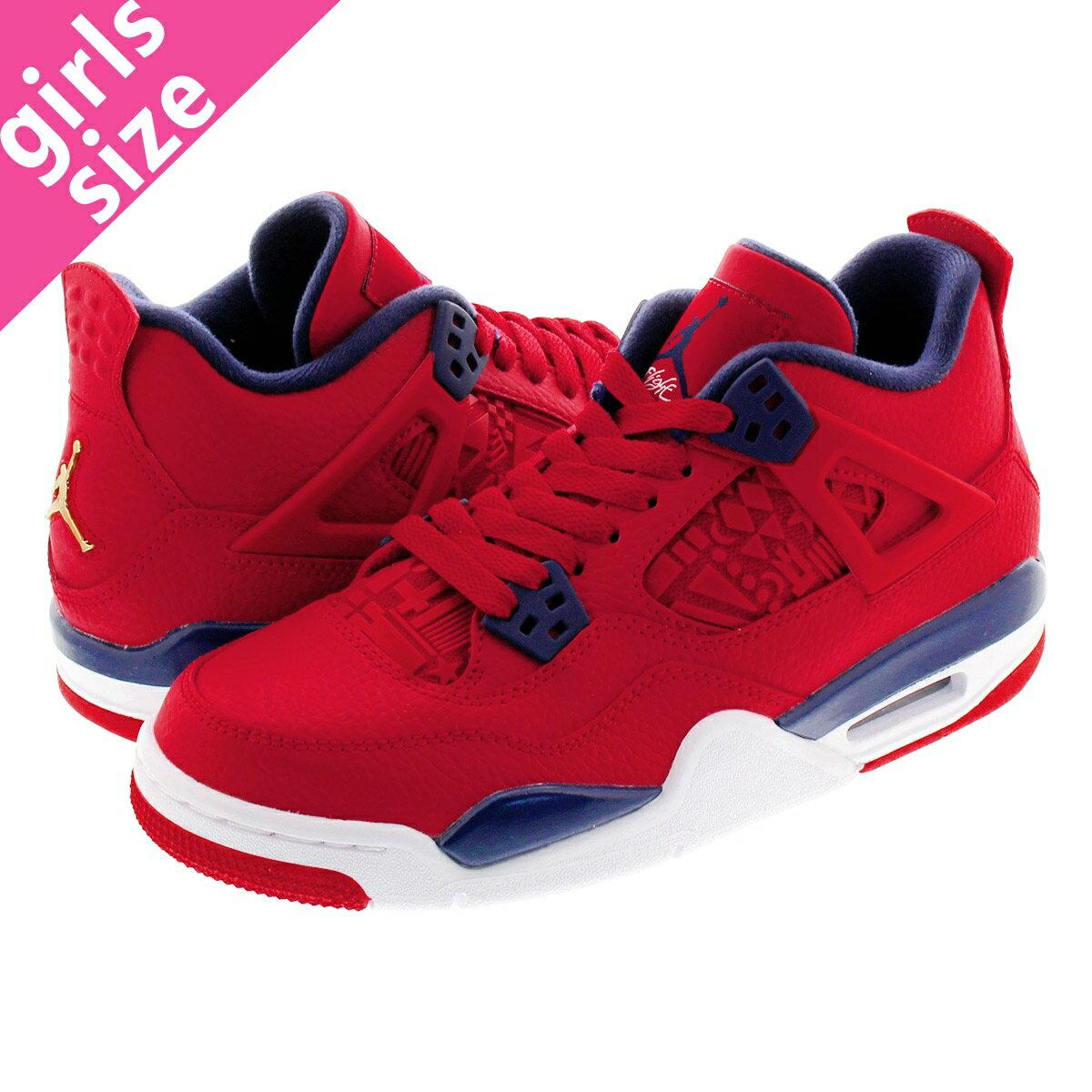 レディース靴, スニーカー NIKE AIR JORDAN 4 RETRO GS FIBA 4 GS GYM REDWHITEMETALLIC GOLD 408452-617
