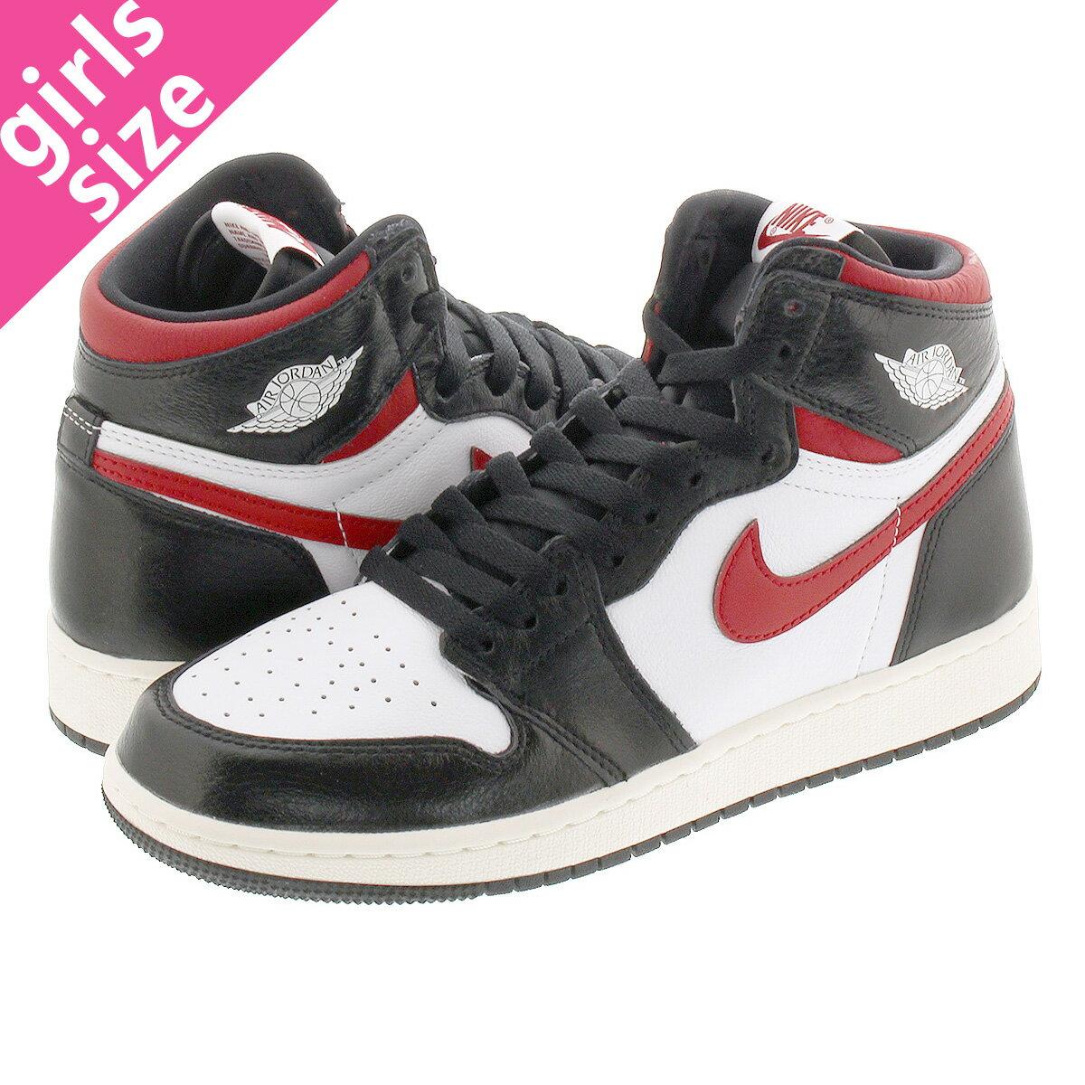 レディース靴, スニーカー NIKE AIR JORDAN 1 RETRO HIGH OG GS 1 OG GS BLACKWHITESAILGYM RED 575441-061