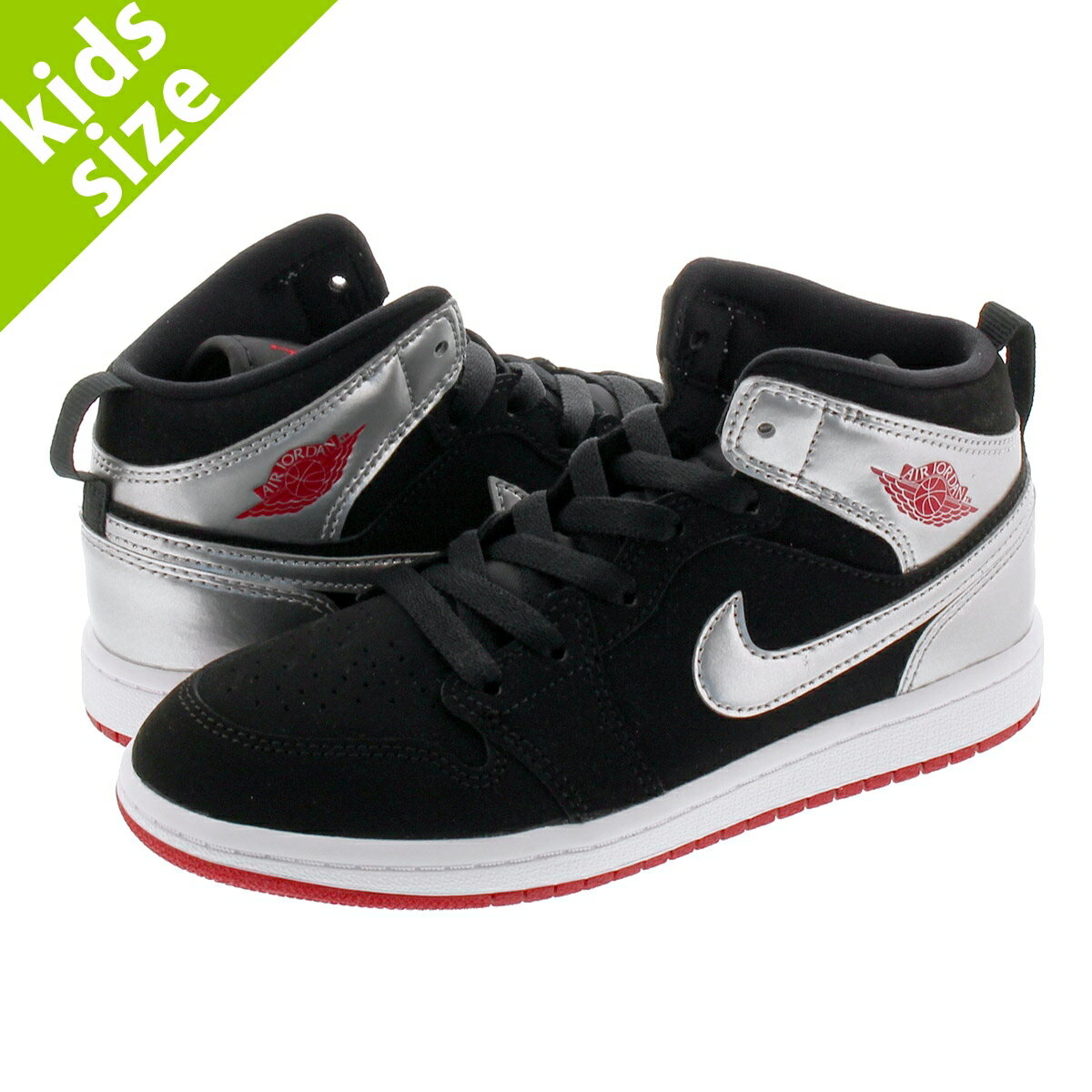 靴, スニーカー 16.022.0cm NIKE JORDAN 1 MID PS 1 PS BLACKGYM REDMETALLIC SILVER 640734-057