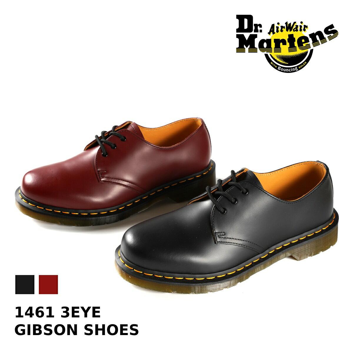 ブーツ, ワーク Dr.Martens 1461 3EYE GIBSON SHOES 3 3 BLACK(R11838002) CHERRY RED(R11838600)