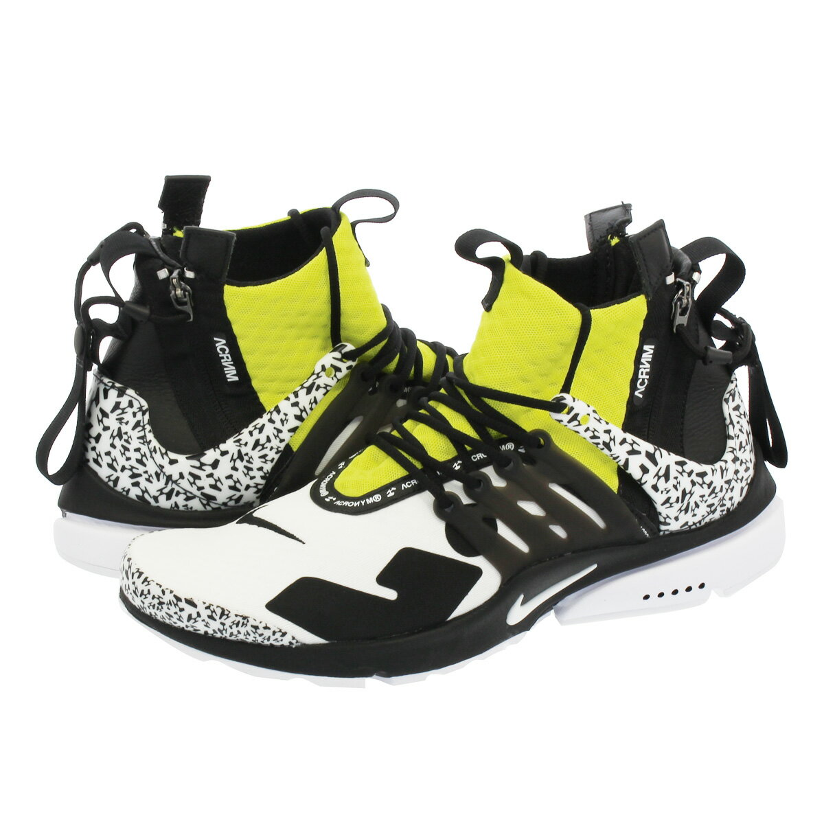 メンズ靴, スニーカー NIKE ACRONYM AIR PRESTO MID WHITEBLACKDYNAMIC YELLOW ah7832-100