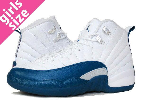 レディース靴, スニーカー  NIKE AIR JORDAN 12 RETRO BG FRENCH BLUE 12 BG WHITEBLUEMETALLIC SILVERRED 153265-113
