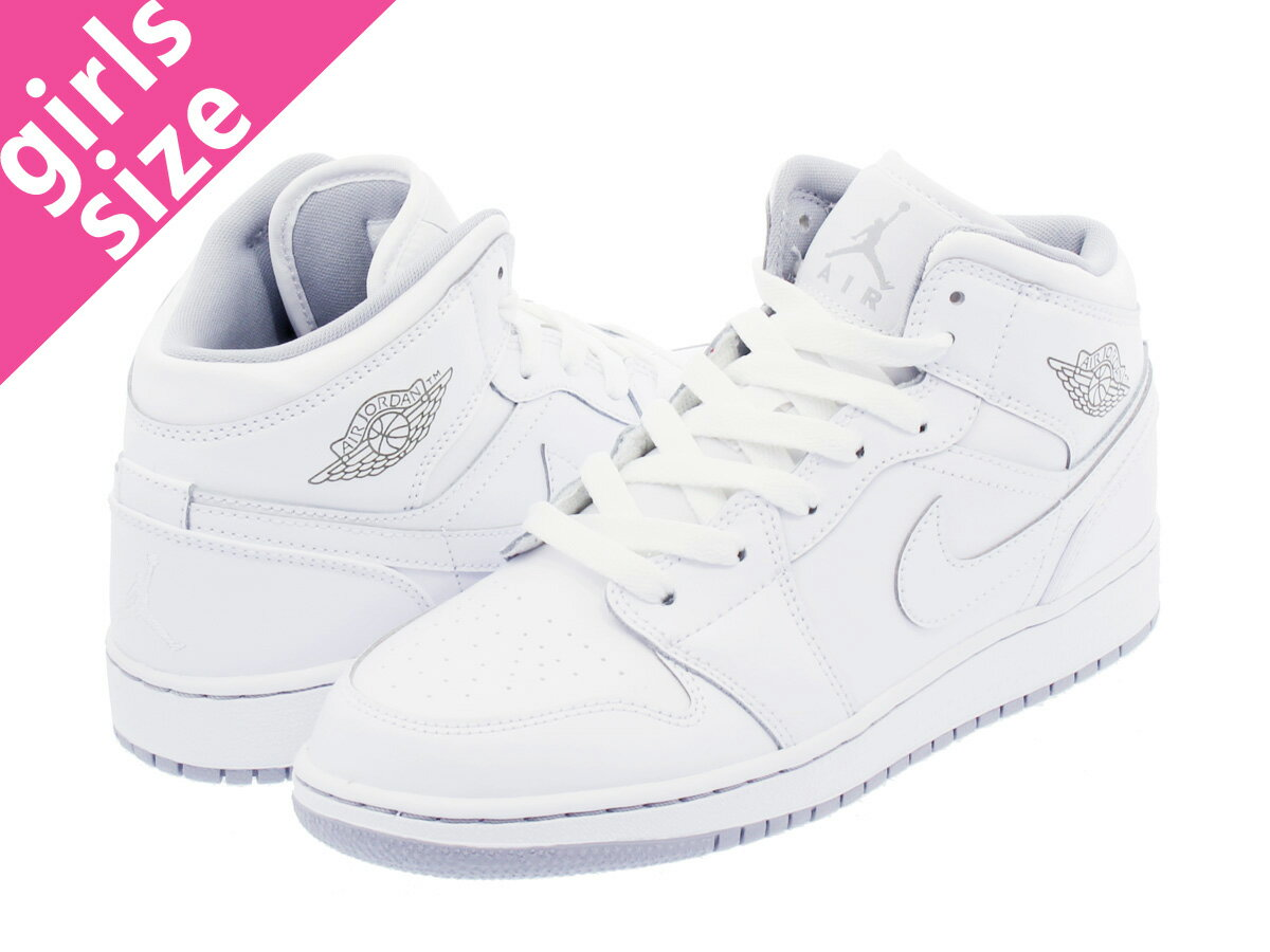 レディース靴, スニーカー  NIKE AIR JORDAN 1 MID GS 1 GS WHITEWOLF GREY 554725-112 aj1gs-m-wht