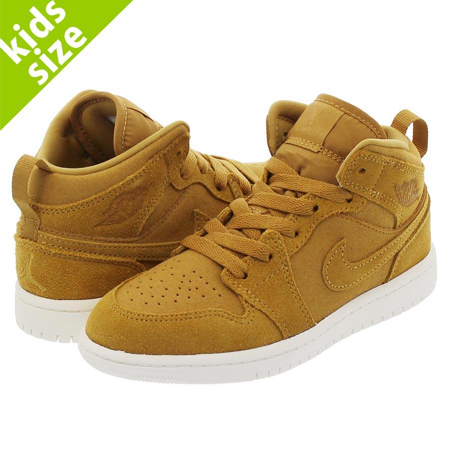 靴, スニーカー  16-22cm NIKE AIR JORDAN 1 MID PS 1 PS GOLDEN HARVESTSAIL