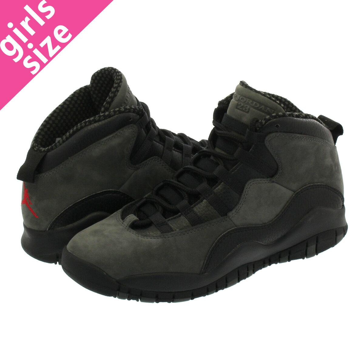 レディース靴, スニーカー  NIKE AIR JORDAN 10 RETRO BG 10 BG DARK SHADOWTRUE REDBLACK 310806-002