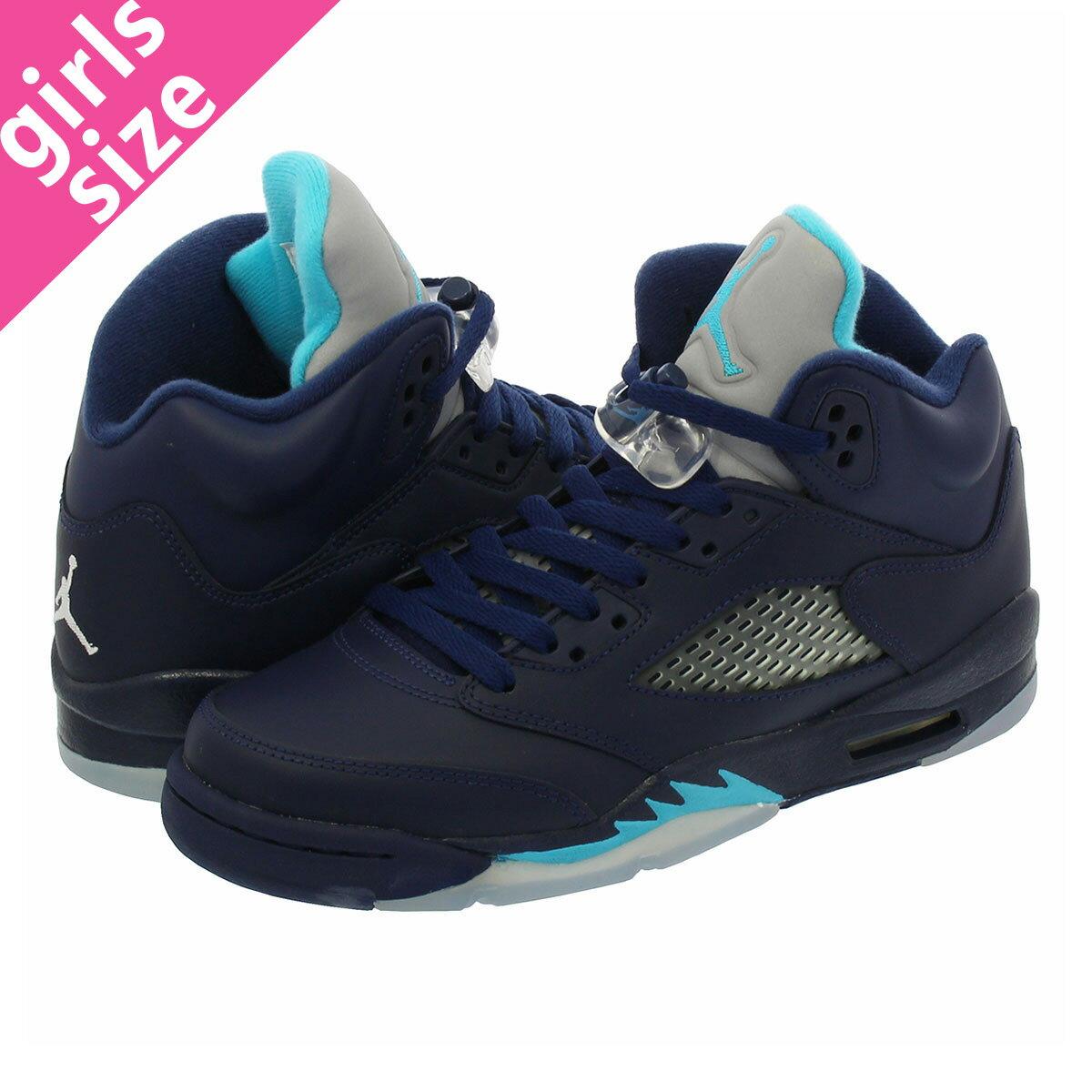 レディース靴, スニーカー NIKE AIR JORDAN 5 RETRO BG HORNETS 5 BG MIDNIGHT NAVYTURQUOISE BLUEWHITE 440888-405