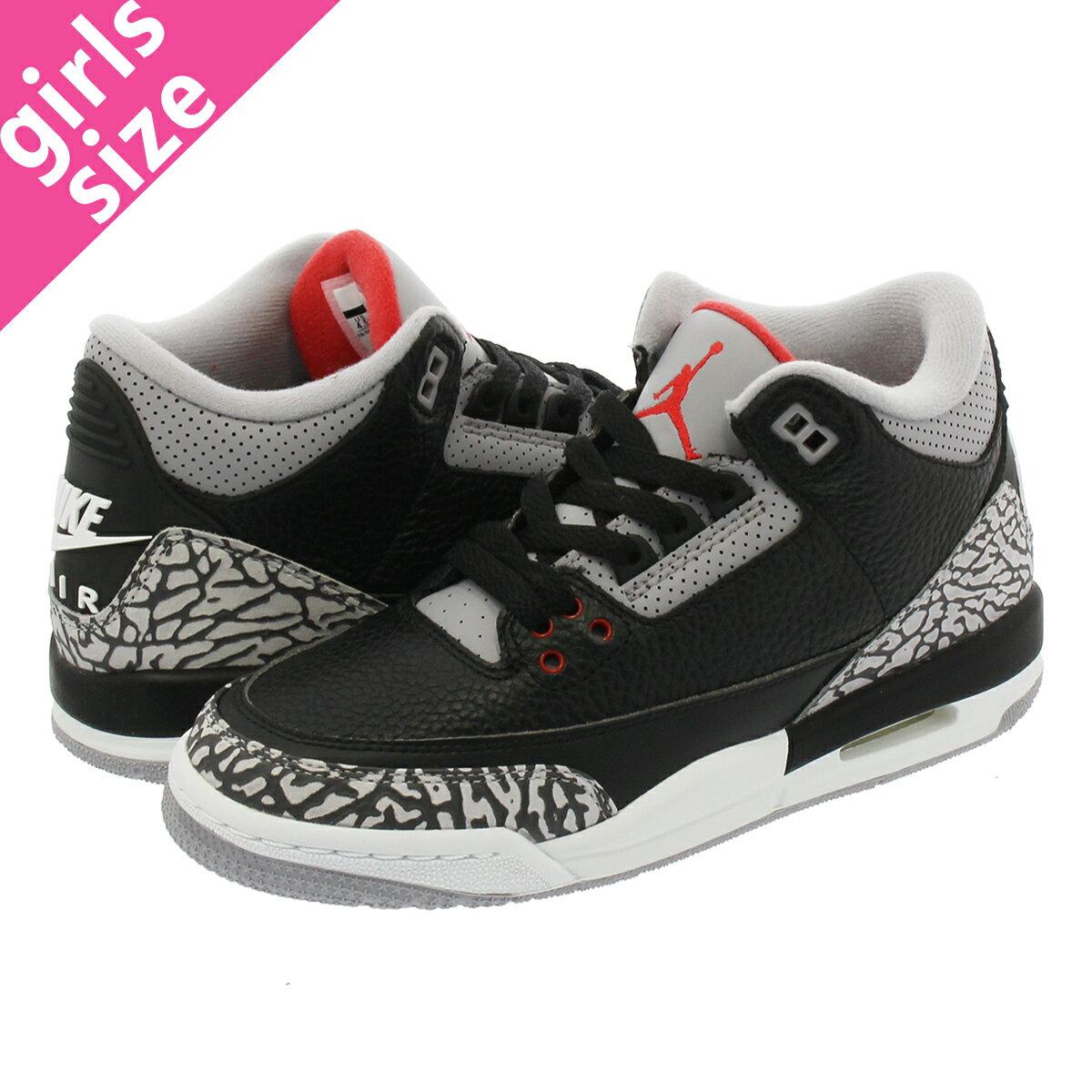レディース靴, スニーカー NIKE AIR JORDAN 3 RETRO OG BG BLACK CEMENT 3 OG BG BLACKFIRE REDCEMENT GREYWHITE 854261-001