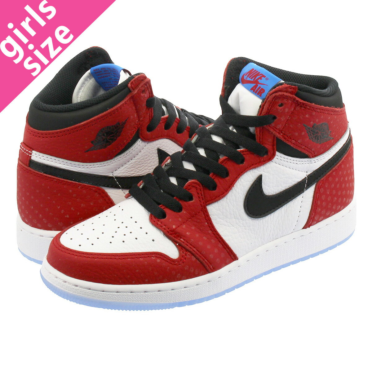 レディース靴, スニーカー  NIKE AIR JORDAN 1 RETRO HIGH OG GS ORIGIN STORYSPIDERMAN 1 OG GS GYM REDWHITEPHOTO BLUEBLACK