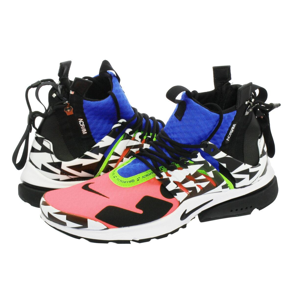 メンズ靴, スニーカー NIKE ACRONYM AIR PRESTO MID RACER PINKBLACKPHOTO BLUEWHITE ah7832-600