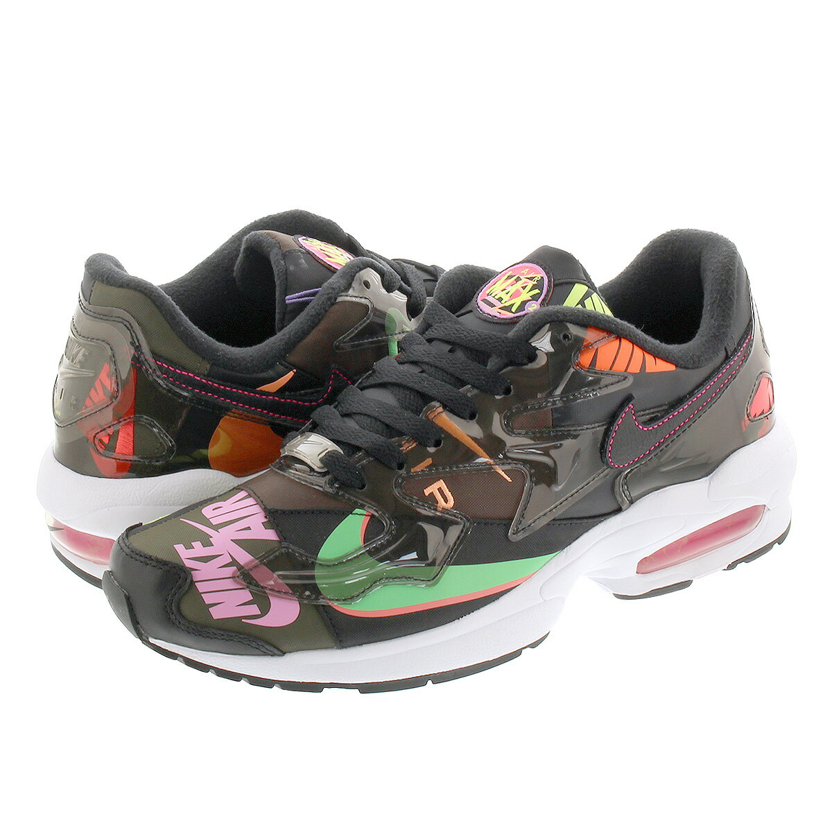 メンズ靴, スニーカー NIKE AIR MAX 2 LIGHT atmos BLACKBLACKRACER PINK ci5590-001