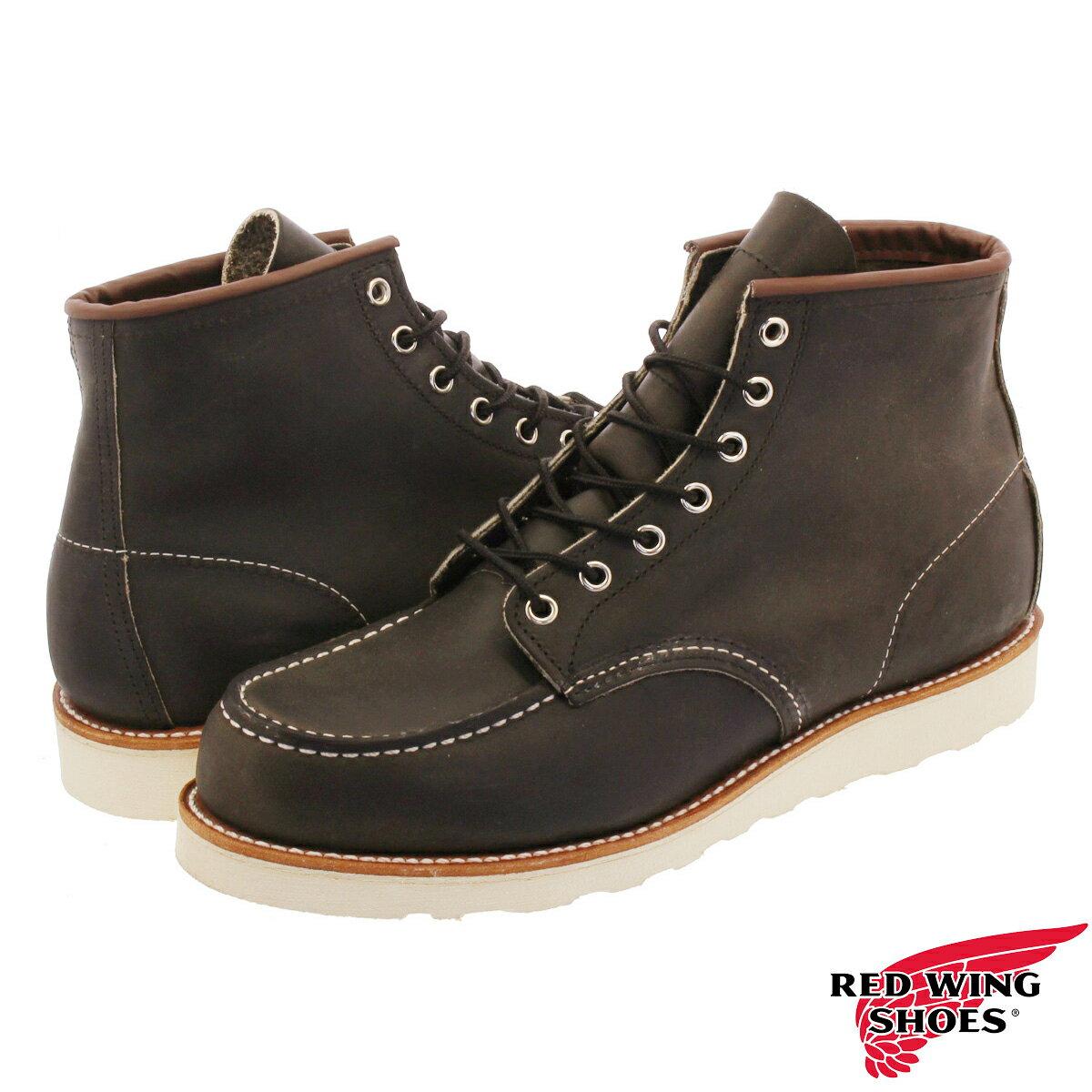ブーツ, ワーク RED WING 6inch CLASSIC MOC TOE D 6 CHARCOAL ROUGH rw-8890
