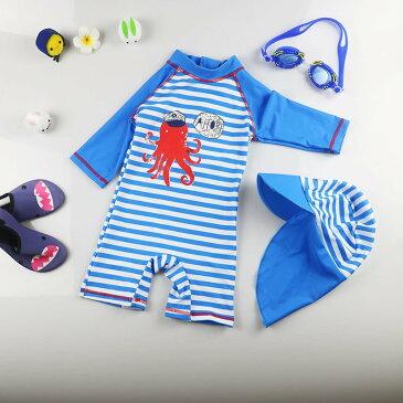 水着 セパレート キッズ 2点セット 男の子 女の子 ラッシュガード 上下セット スイムキャップ 半袖 スカパン 帽子付 uvカット 子供