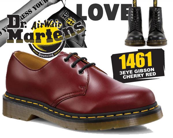 ブーツ, ワーク !! !! 3 Dr.Martens 1461 3EYE GIBSON CHERRY RED 3 R11838600