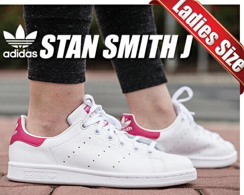 お得な割引クーポン発行中!!【あす楽 対応!!】【アディダス スニーカー スタンスミス レディースサイズ】adidas STAN SMITH J ftwwht/ftwwht/bopink ホワイト/ピンク STANSMITH