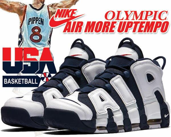 メンズ靴, スニーカー !! !! NIKE AIR MORE UPTEMPO OLYMPIC whitemidnight Navy-metallic gold-university red 414962-104 2020