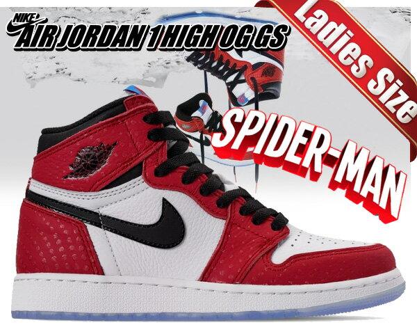レディース靴, スニーカー !! !! 1 OG GSNIKE AIR JORDAN 1 HIGH OG GS SPIDER-MAN ORIGIN STORY gym redblack-white-photo blu AJ1 575441-602