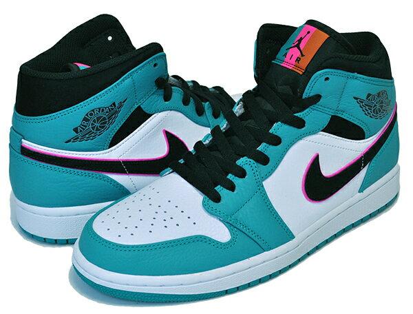 メンズ靴, スニーカー !! !! 1 NIKE AIR JORDAN 1 MID SE SOUTH BEACH turbo greenblack-hyper pink AJ1