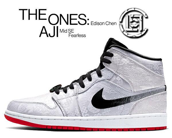 メンズ靴, スニーカー !! !! 1 NIKECLOT AIR JORDAN 1 MID SE FEARLESS EDISON CHEN whiteblack-white cu2804-100 AJ1 CLOT White Silk