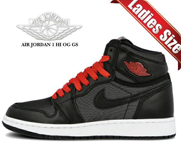 レディース靴, スニーカー !! !! 1 OG NIKE AIR JORDAN 1 HI OG GS blackgym red-black-white 575441-060 AJ1 HIGH BLACK SATIN