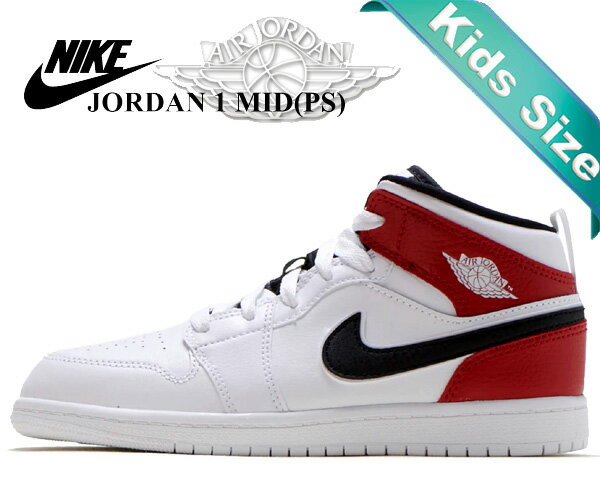 靴, スニーカー !! !! 1 NIKE JORDAN 1 MID (PS) whiteblack-gym red 640734-116 AJ1