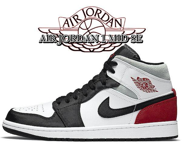 メンズ靴, スニーカー !! !! 1 SENIKE AIR JORDAN 1 MID SE whitetrack red-black-igloo 852542-100 AJ1 VD21