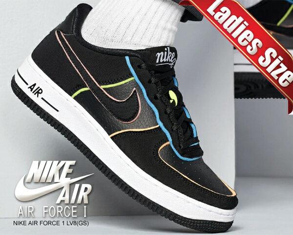 レディース靴, スニーカー !! !! 1 NIKE AIR FORCE 1 LV8 (GS) blackblk-pink-barely volt cd7406-001 AF1