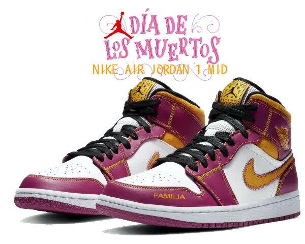メンズ靴, スニーカー !! !! 1 NIKE AIR JORDAN 1 MID DAY OF THE DEAD whiteuniversity gold dc0350-100 AJ1 DIA DE MUERTOS