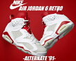 "【ナイキスニーカージョーダン6】NIKEAIRJORDAN6RETRO""ALTERNATE""wht/p.platinum-gymred"