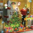 ウォールステッカー クリスマスツリー リース サンタクロース 北欧 おしゃれ オシャレ トイレ インスタ 映え インテリア 壁紙 飾り 窓 英字 風景 リフォーム ドア DIY イラスト