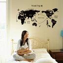 ウォールステッカー 送料無料 世界地図 モノトーン マップ ブラック ...